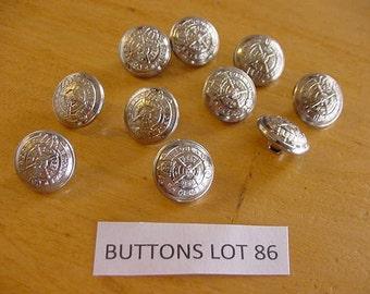 10 Vintage Scottish Highland Metal Buttons Silvertone Lot 86