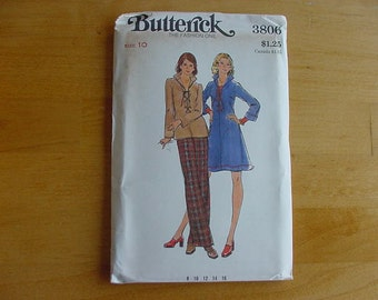 1970s Butterick Pattern 3806  Misses' Dress, Top & Pants  Size 10  Bust 32 1/2  Uncut