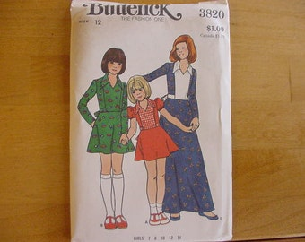 1970's Butterick 3820 Children's & Girls' Dress   Size 12  UNCUT
