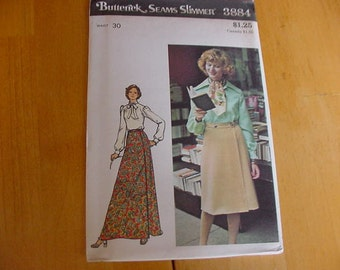 1970s Butterick Pattern 3884  Misses' Flared, Wrapped Skirt, 2 Lengths, Size 16 Waist 30  Uncut