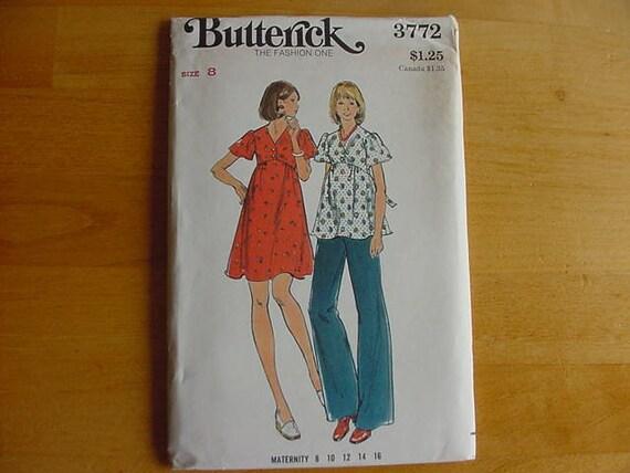 1970s Butterick Pattern 3772 Misses Maternity Dress, Top & Pants Dress  Size 8  Bust 31 1/2  UNCUT