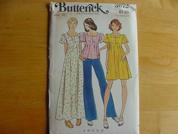 Vintage 1970s Butterick Pattern 3672 Misses High Fitted, Flared Dress 2 Lengths Size 10 Bust 32 1/2  Uncut
