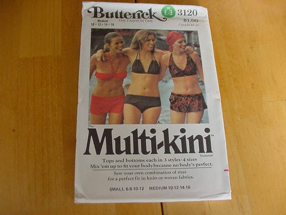 Vintage 1970s Butterick Pattern 3120 Misses Multi Kini Swimsuit Bikini, 3 Styles, Size Medium 10-16 Uncut