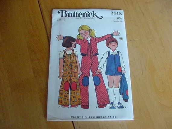UNCUT 1970's Butterick Pattern 3818, Childrens Jumpsuit, Jacket & Applique Transfer, Size 6