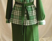Vintage 70s Ladies Leisure Suit Pantsuit Polyester Double Knit Green Plaid Size M