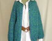 Vintage Fuzzy Mohair Sweater from 60s Cardigan Hand Knit in Italy of Wool Size L Blue Green