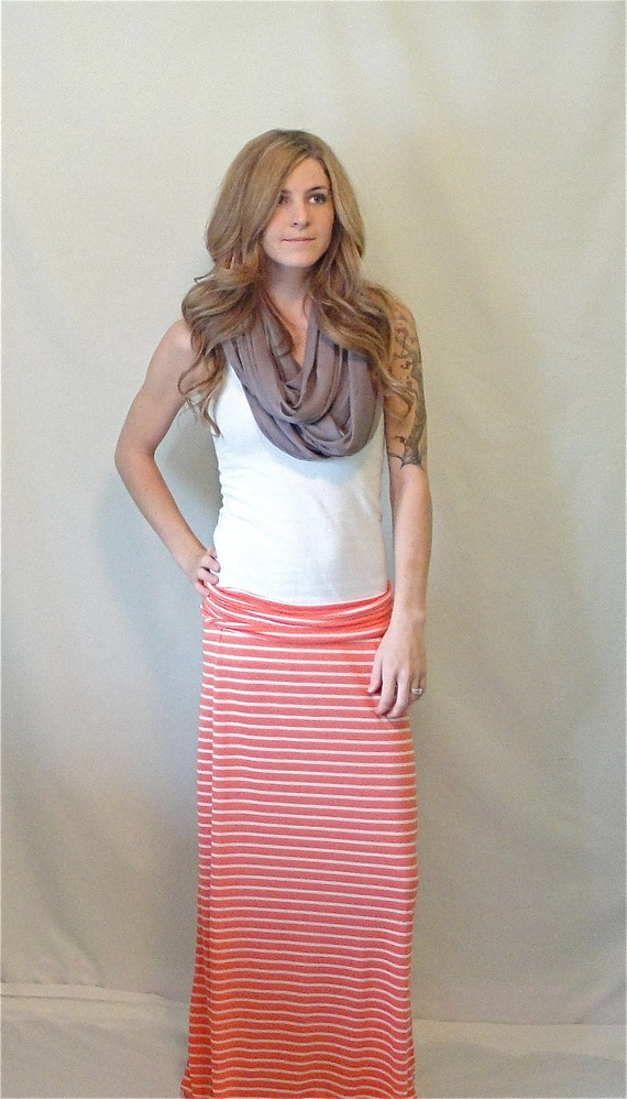 Maxi Skirt, Orange and White Striped, Single-folded Band, Size Medium FREE SHIPPING