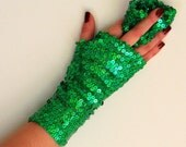 Green  Fingerless glove