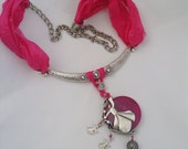 Free Shipping.. OOAK..Fuchsia silk necklace dervish.