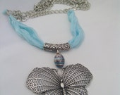 Free Shipping.. OOAK..Blue silk butterfly necklace .
