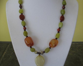 Agate Necklace,16 Inches Long With Toggle Clasp