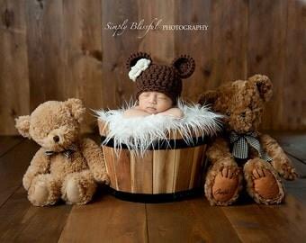 Newborn Bear Hat / Newborn Photo Prop / Brown Bear Hat / Baby Bear Hat / Crochet Bear Hat / Baby Animal Hat / Photography Prop Girls or Boys