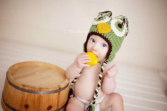 Crochet Owl Hat for Baby Boys / Green Owl Hat / Baby Owl Hats / Owl Hat for Newborns / Custom Colors Welcome