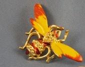 Vintage yellow bumble bee bug brooch (BP12)
