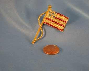 Clearance/patriotic/ Vintage American Flagred white and blue/ Rhinestone Brooch/pin(BP25)