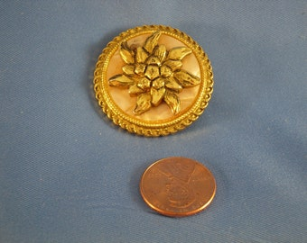 Reduced Vintage Gold flower Mother of pearl Gold Scarf Clip (A13)