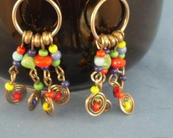 Vintage colorful pierced dangled earrings (P23)
