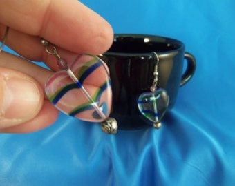Clear hearts with green and blue line pierced earrings (P42)