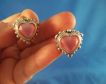 Silver and pink pierced earrings (P60)