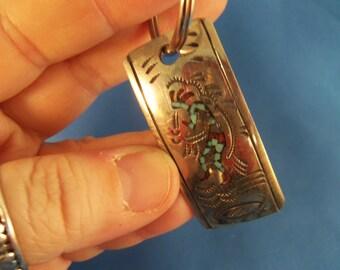 Southwestern torqouise silver keychain (A41)
