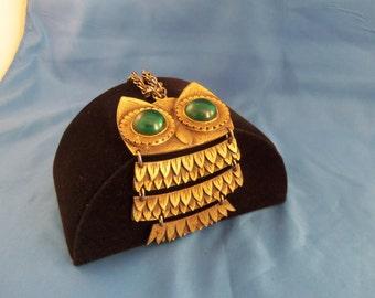 Large gold owl necklace with big green rhinestone eyes (N48)
