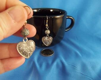 Vintage Valentine silver heart pierced earrings (P84)