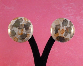 Clearance Splashed ceramic clip earrings. (59)