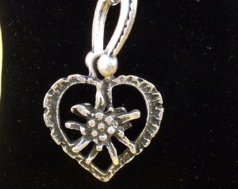 REDUCED Silver horseshoe and heart pendant with long silver chain. (N59)