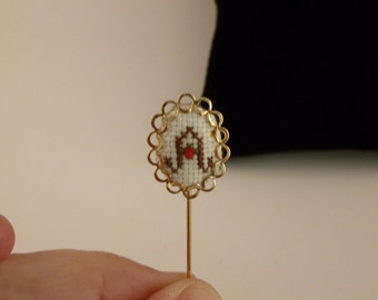 REDUCED Cross stiched letter A lapel pin (A70)
