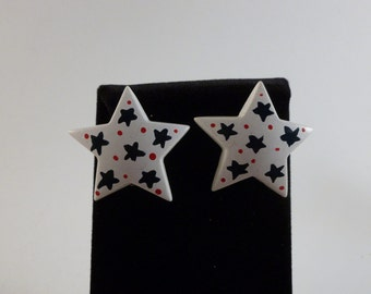 Patriotic/red White blue/large/ star/clip earrings