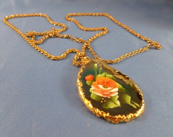 Reduced stone necklace with painted rose chain included. B71)