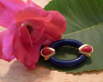 Retro Blue and Red oval brooch (BP52)