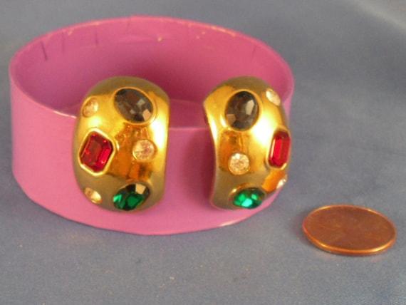 Reduced Multi Rhinestone clip earrings (C1)