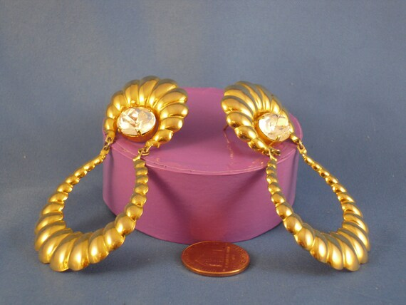 Reserved for Nikky. Vintage long gold tone and pierced rhinestone earrings (P22)