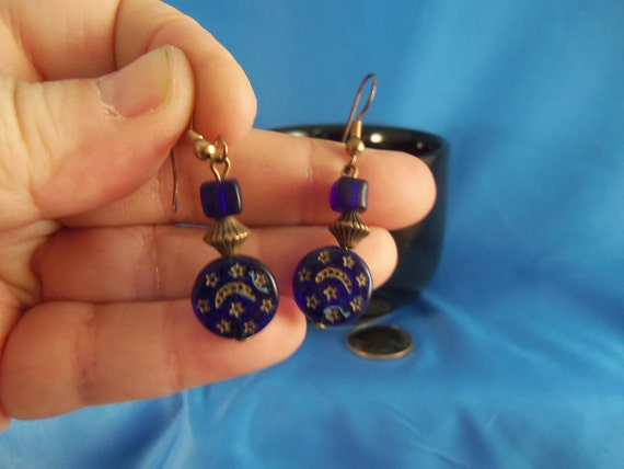 Vintage blue moon and stars pierced earrings (P71)