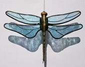 Stained Glass DRAGONFLY Suncatcher, Light Ice Blue Iridescent Wings & Handcast Metal Body, USA Handmade