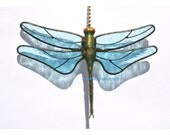 Stained Glass Dragonfly FAN PULL Suncatcher / Light Ice Blue Wings / Proudly USA Handcrafted