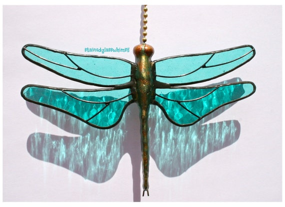 Stained Glass Dragonfly FAN PULL Suncatcher, Aqua/Turquoise Wings & Handcast Metal Body,  USA Handmade