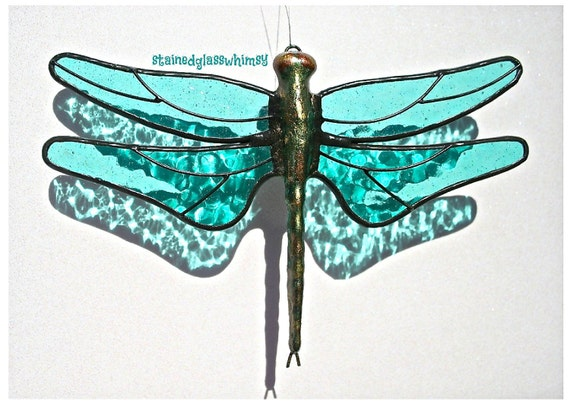 Stained Glass DRAGONFLY Suncatcher, Aqua/Turquoise Wings & Hand-Cast Metal Body, USA Handmade