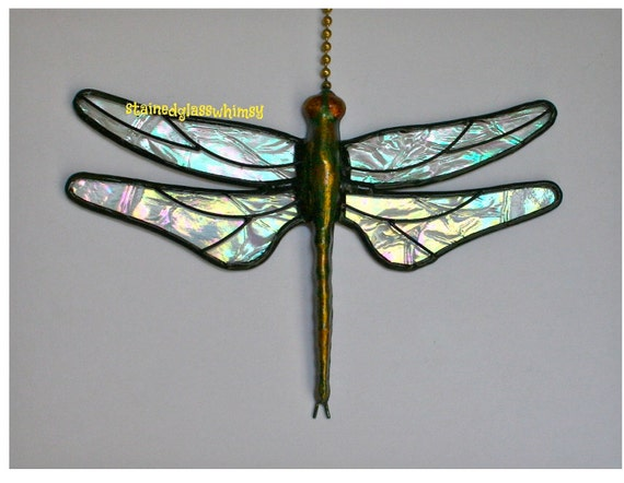 """Stained Glass Dragonfly FAN PULL Suncatcher - Clear Iridescent """"Krinkle"""" Wings - Handcast Metal Body"""