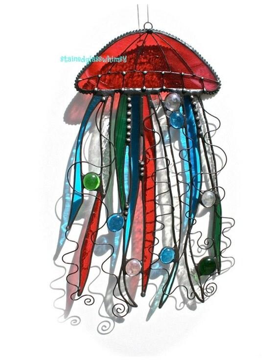 Stained Glass JELLYFISH Suncatcher - Cranberry, Turquoise, Emerald Green, Iridescent Clear - USA Handmade Original