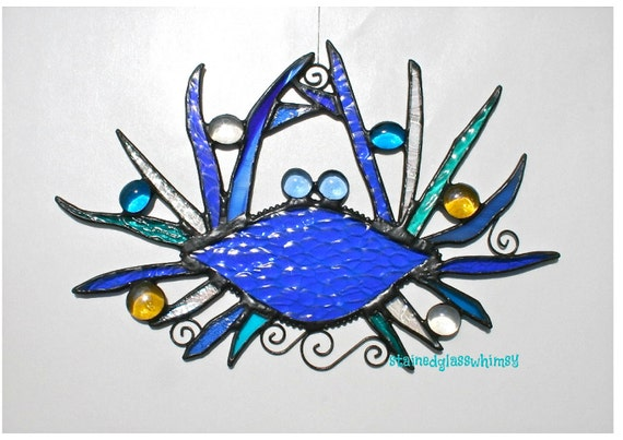 Stained Glass BLUE CRAB Whimsy Suncatcher - Cobalt Blues, Turquoise/Teals, Iridescent Clears - USA Original Design
