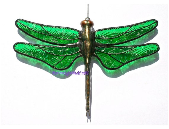 Stained Glass DRAGONFLY Suncatcher, Emerald Celtic Knot Glass Wings, Handcast Metal Body, USA Handmade