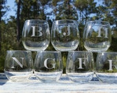 Initial Stemless Wine Glasses -Set of 4
