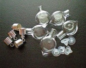 5 Small Glass Heart Shape Bottles with Silver Cap. Miniature, Tiny, Potion, Vials. DIY Pendant.