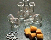 5 Tiny Glass Potion bottle Vials with cork and loop. Miniature, Tiny, Potion, Vial. DIY Pendant.