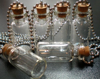 5 Small Glass Bottles with Cork, loop and Ball Chain. Miniature, Tiny, Potion, Vials. DIY Pendant.
