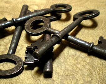 5 black rustic metal skeleton keys.