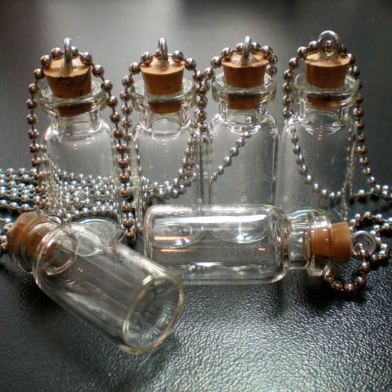 30 Small Glass Bottles with Cork, loop and Ball Chain. Miniature, Tiny, Potion, Vials. DIY Pendant.