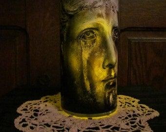 Cemetary Angel Patina Statue Candleholder